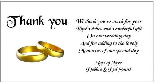 Thank You Gift Cards Wedding Personalised -  Gold Rings Design  x 10